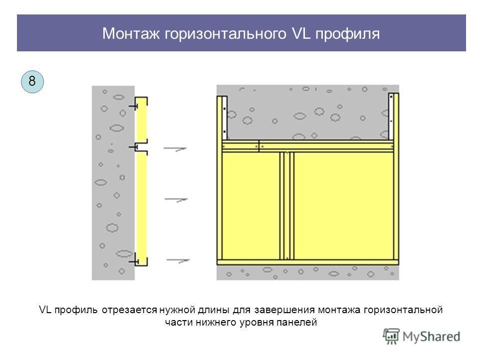 Монтаж горизонтального VL профиля VL профиль отрезается нужной длины для завершения монтажа горизонтальной части нижнего уровня панелей 8