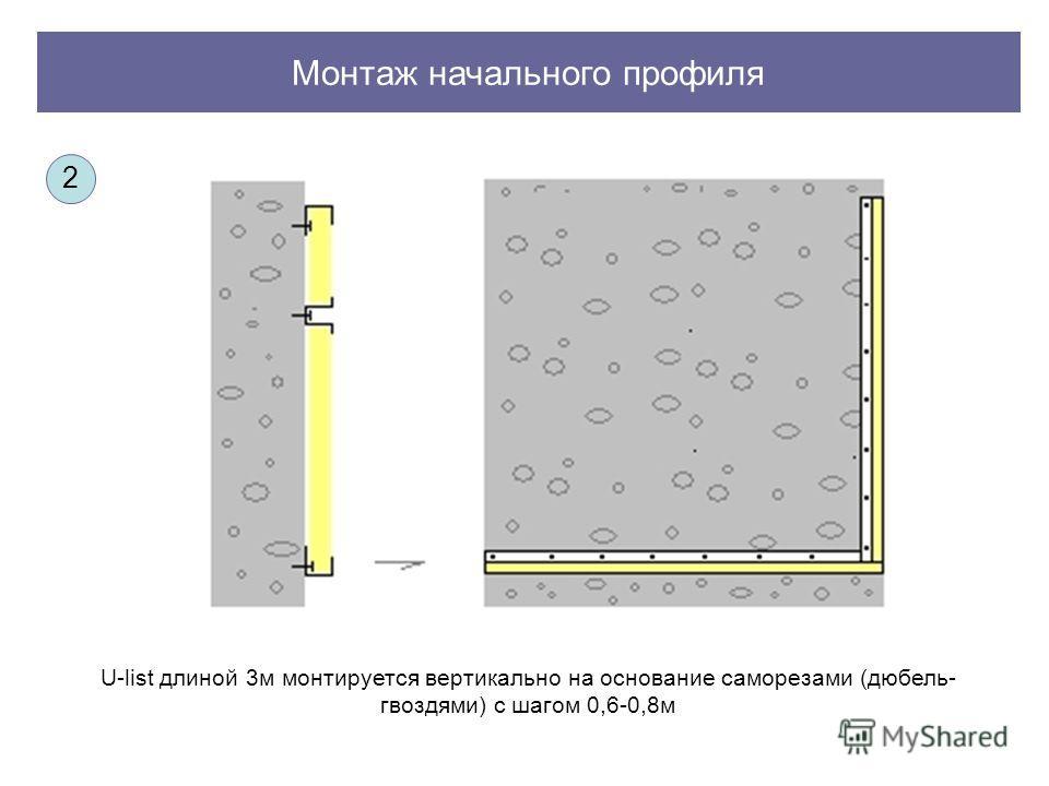 Монтаж начального профиля U-list длиной 3м монтируется вертикально на основание саморезами (дюбель- гвоздями) с шагом 0,6-0,8м 2