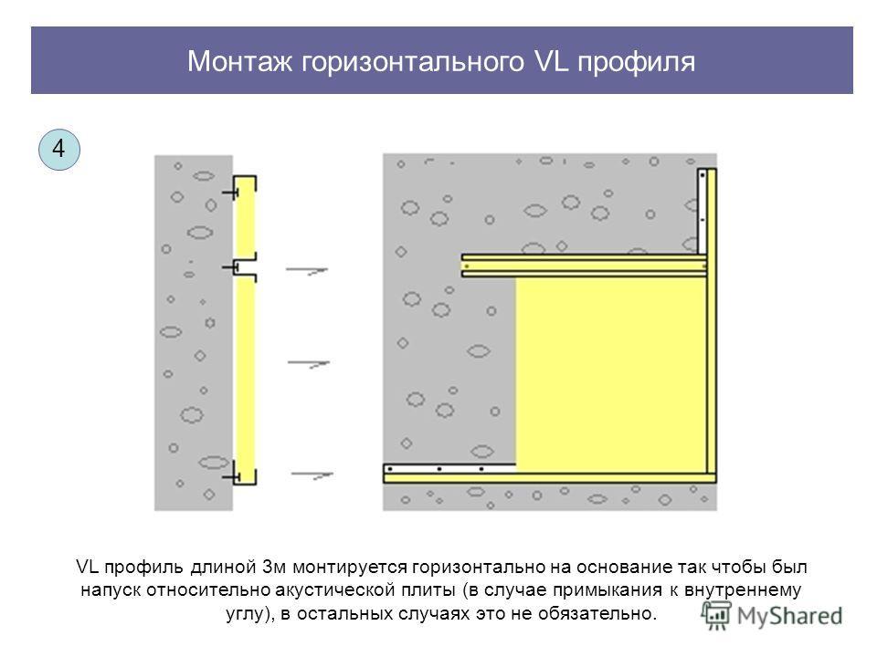 Монтаж горизонтального VL профиля VL профиль длиной 3м монтируется горизонтально на основание так чтобы был напуск относительно акустической плиты (в случае примыкания к внутреннему углу), в остальных случаях это не обязательно. 4