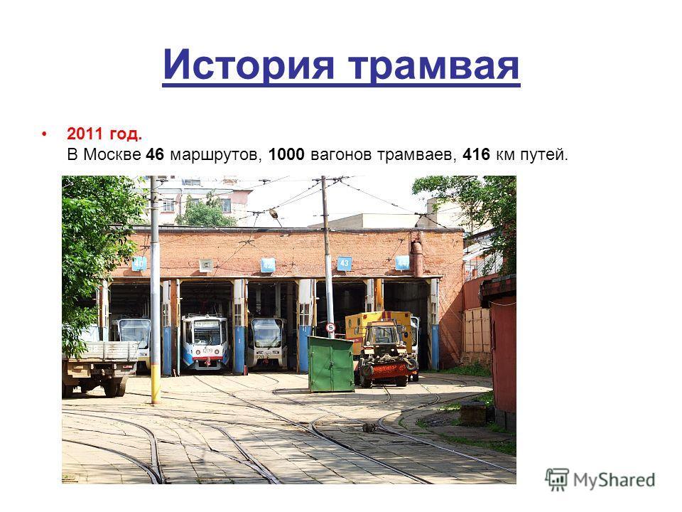 История трамвая 2011 год. В Москве 46 маршрутов, 1000 вагонов трамваев, 416 км путей.