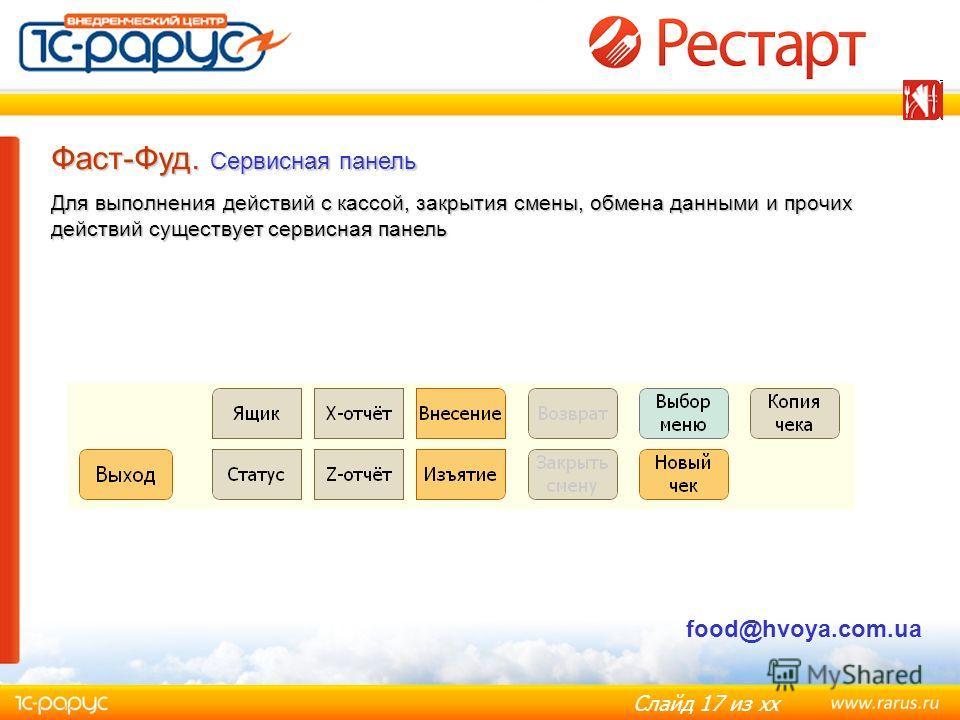 Слайд 17 из хх Фаст-Фуд. Сервисная панель Для выполнения действий с кассой, закрытия смены, обмена данными и прочих действий существует сервисная панель food@hvoya.com.ua