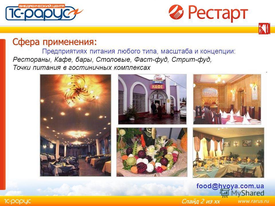 Слайд 2 из хх Сфера применения: Сфера применения: Предприятиях питания любого типа, масштаба и концепции: Рестораны, Кафе, бары, Столовые, Фаст-фуд, Стрит-фуд, Точки питания в гостиничных комплексах food@hvoya.com.ua