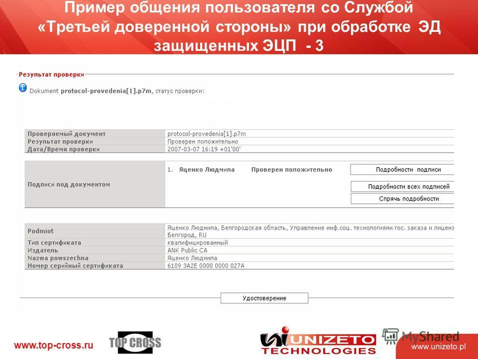 www.top-cross.ru Пример общения пользователя со Службой «Третьей доверенной стороны» при обработке ЭД защищенных ЭЦП - 3