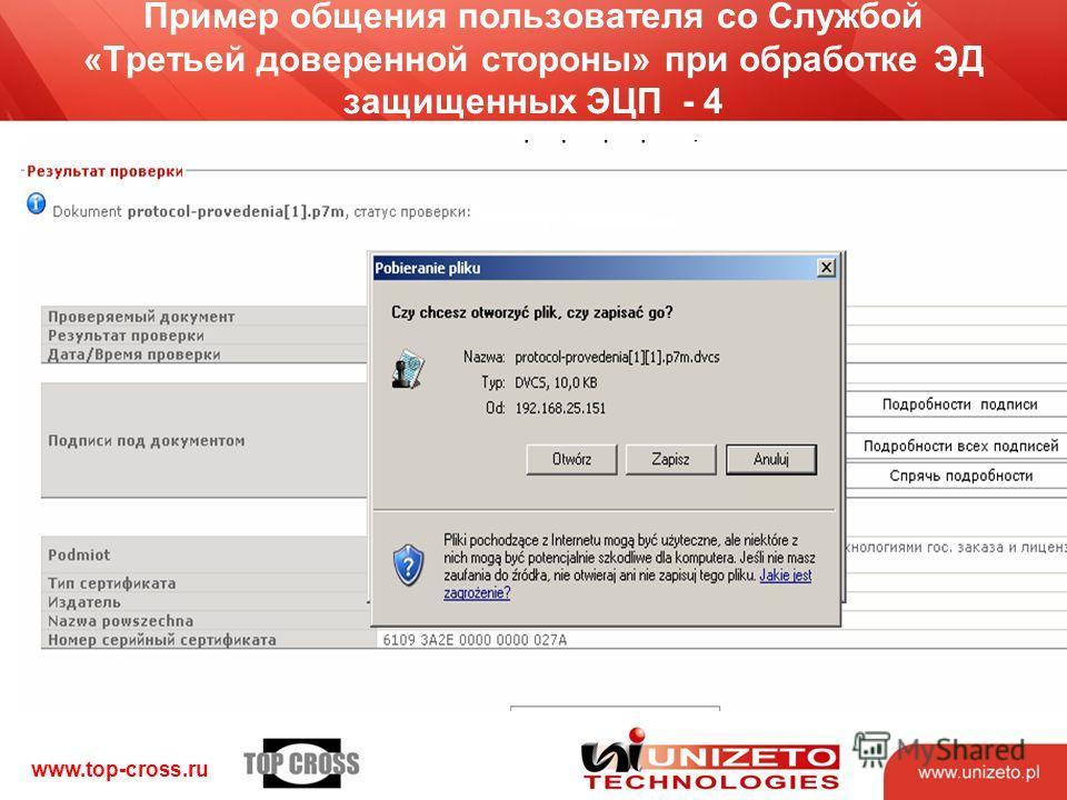www.top-cross.ru Пример общения пользователя со Службой «Третьей доверенной стороны» при обработке ЭД защищенных ЭЦП - 4