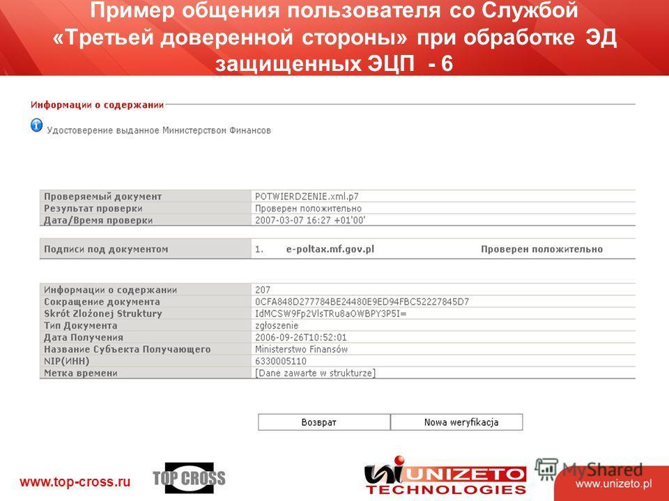 www.top-cross.ru Пример общения пользователя со Службой «Третьей доверенной стороны» при обработке ЭД защищенных ЭЦП - 6