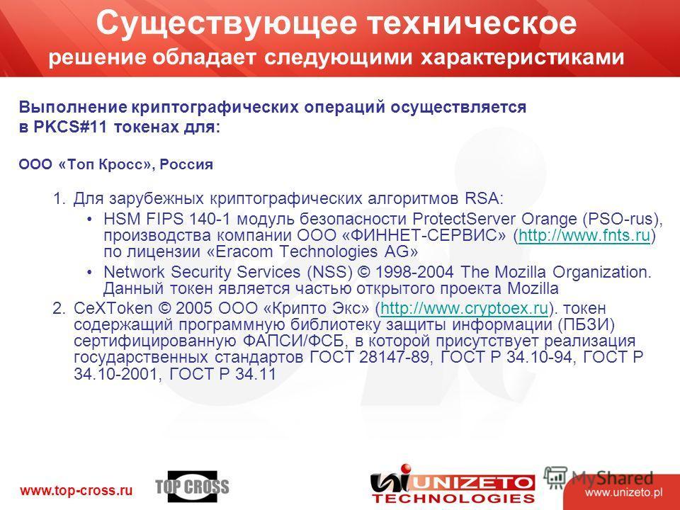 www.top-cross.ru Существующее техническое решение обладает следующими характеристиками Выполнение криптографических операций осуществляется в PKCS#11 токенах для: ООО «Топ Кросс», Россия 1.Для зарубежных криптографических алгоритмов RSA: HSM FIPS 140