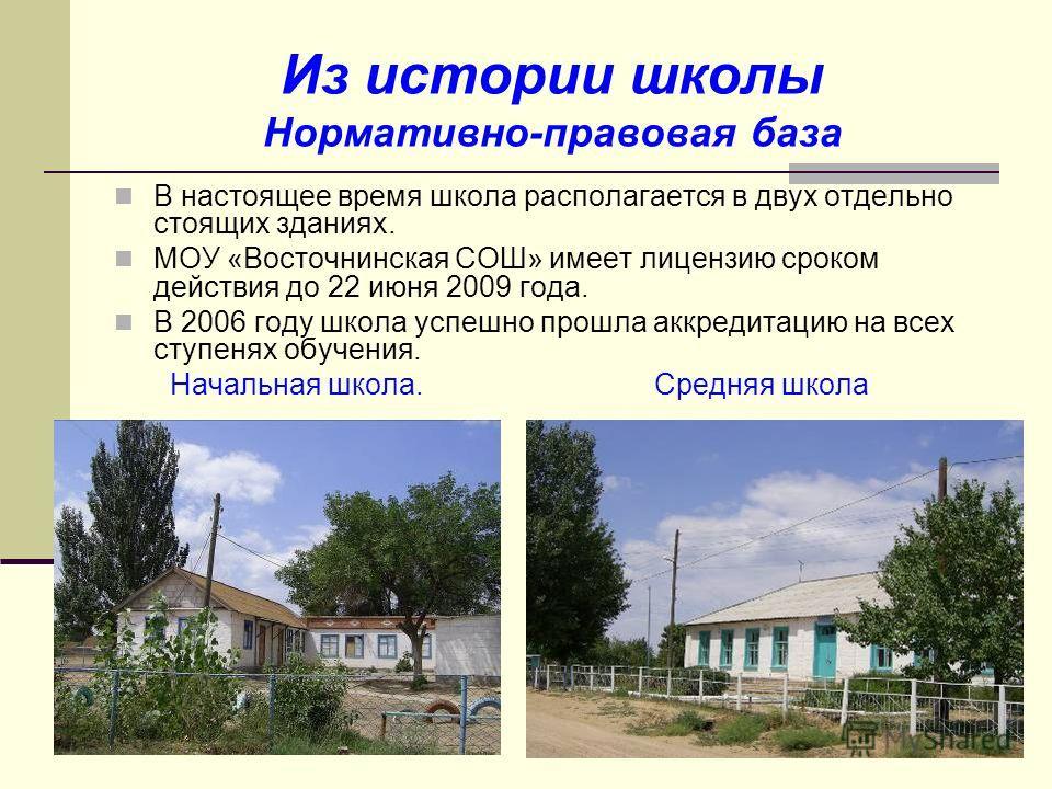 Из истории школы Нормативно-правовая база В настоящее время школа располагается в двух отдельно стоящих зданиях. МОУ «Восточнинская СОШ» имеет лицензию сроком действия до 22 июня 2009 года. В 2006 году школа успешно прошла аккредитацию на всех ступен