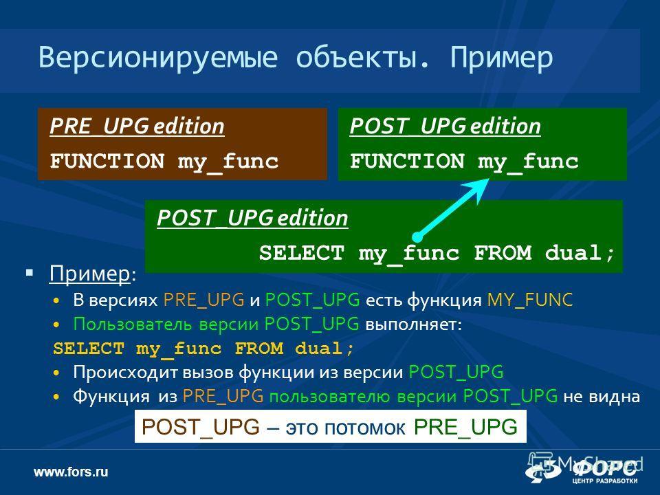www.fors.ru Пример: В версиях PRE_UPG и POST_UPG есть функция MY_FUNC Пользователь версии POST_UPG выполняет: SELECT my_func FROM dual; Происходит вызов функции из версии POST_UPG Функция из PRE_UPG пользователю версии POST_UPG не видна Версионируемы