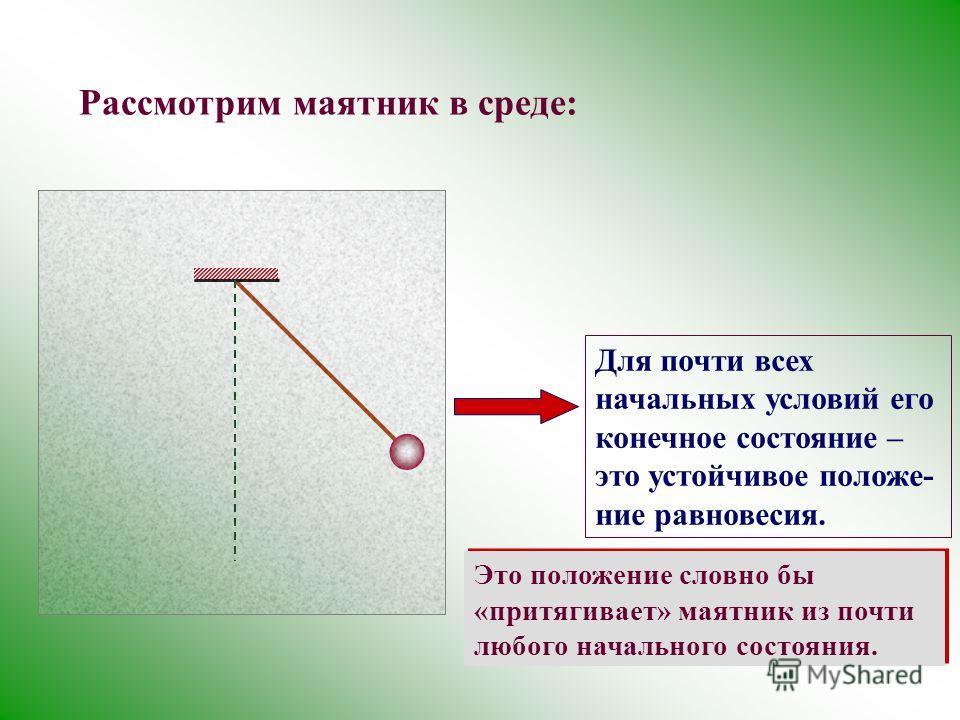 Рассмотрим маятник в среде: Для почти всех начальных условий его конечное состояние – это устойчивое положе- ние равновесия. Это положение словно бы «притягивает» маятник из почти любого начального состояния.