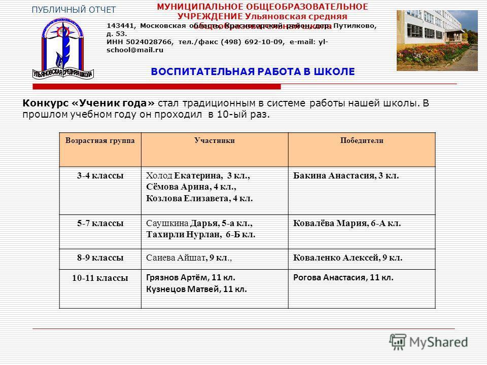 ВОСПИТАТЕЛЬНАЯ РАБОТА В ШКОЛЕ ПУБЛИЧНЫЙ ОТЧЕТ МУНИЦИПАЛЬНОЕ ОБЩЕОБРАЗОВАТЕЛЬНОЕ УЧРЕЖДЕНИЕ Ульяновская средняя общеобразовательная школа Конкурс «Ученик года» стал традиционным в системе работы нашей школы. В прошлом учебном году он проходил в 10-ый