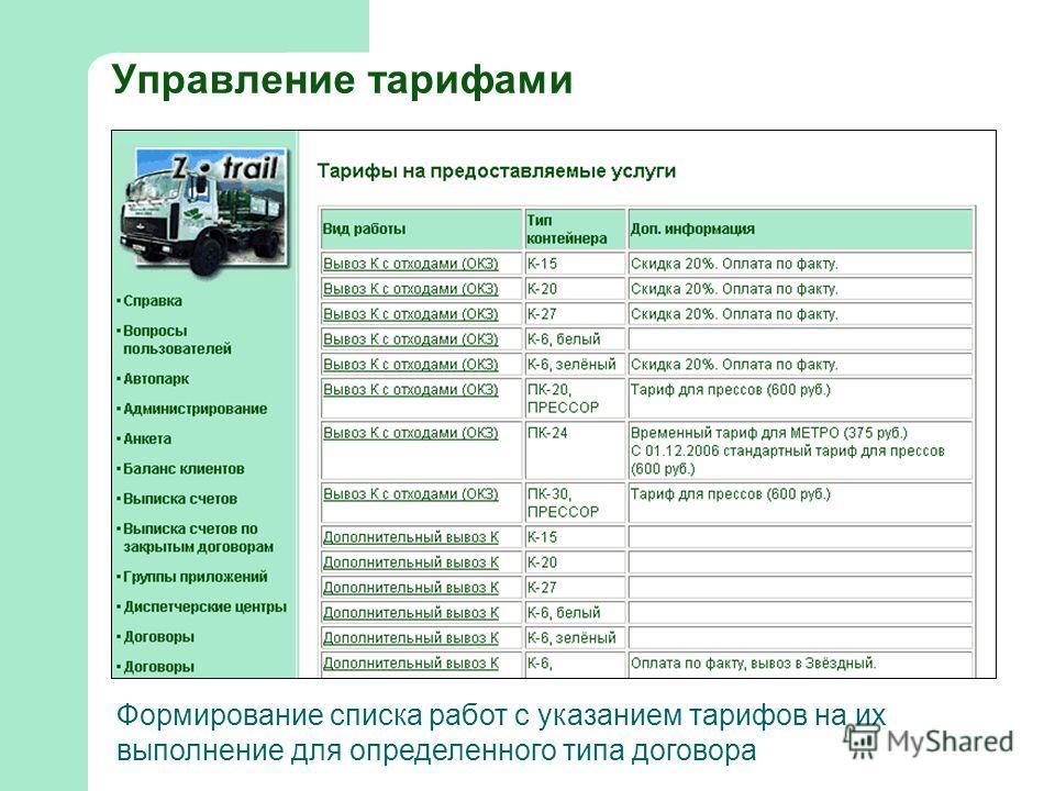 Управление тарифами Формирование списка работ с указанием тарифов на их выполнение для определенного типа договора