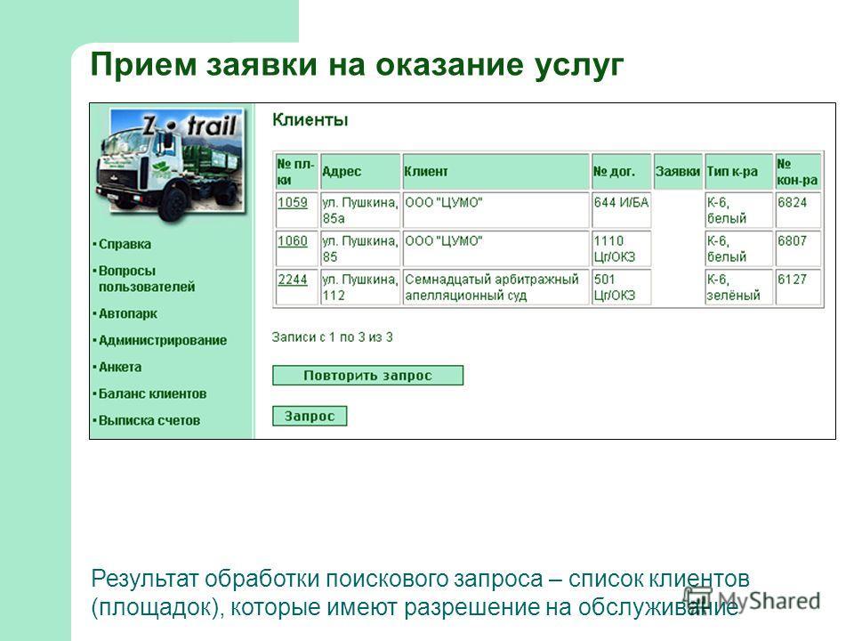 Прием заявки на оказание услуг Результат обработки поискового запроса – список клиентов (площадок), которые имеют разрешение на обслуживание