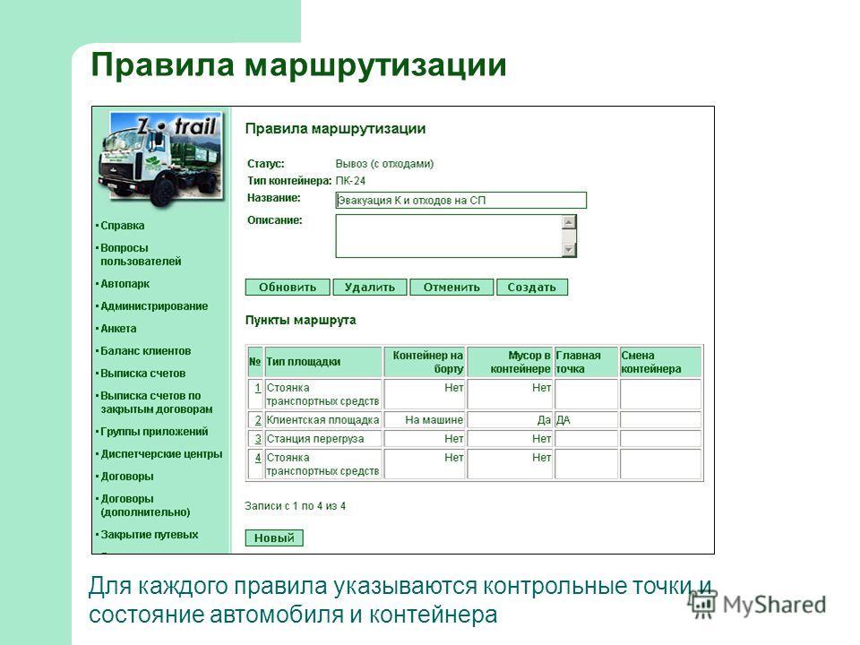 Правила маршрутизации Для каждого правила указываются контрольные точки и состояние автомобиля и контейнера
