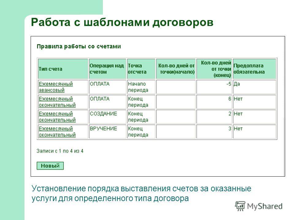 Работа с шаблонами договоров Установление порядка выставления счетов за оказанные услуги для определенного типа договора