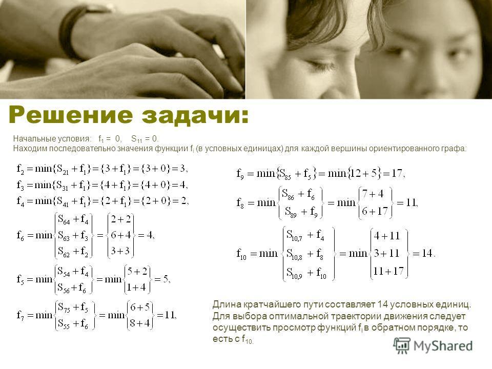 Решение задачи: Начальные условия: f 1 = 0, S 11 = 0. Находим последовательно значения функции f i (в условных единицах) для каждой вершины ориентированного графа: Длина кратчайшего пути составляет 14 условных единиц. Для выбора оптимальной траектори