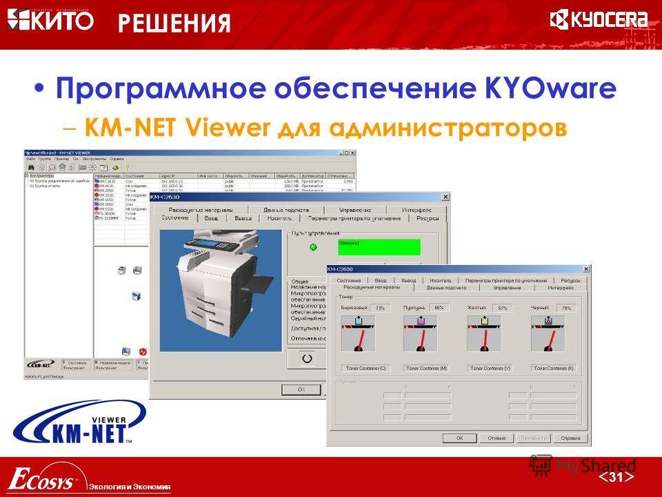 30 Экология и Экономия РЕШЕНИЯ Программное обеспечение KYOware – KM-NET Viewer для администраторов Мониторинг всех сетевых устройств, включая устройства других производителей Управление настройками устройств Получение визуального/аудио/email предупре