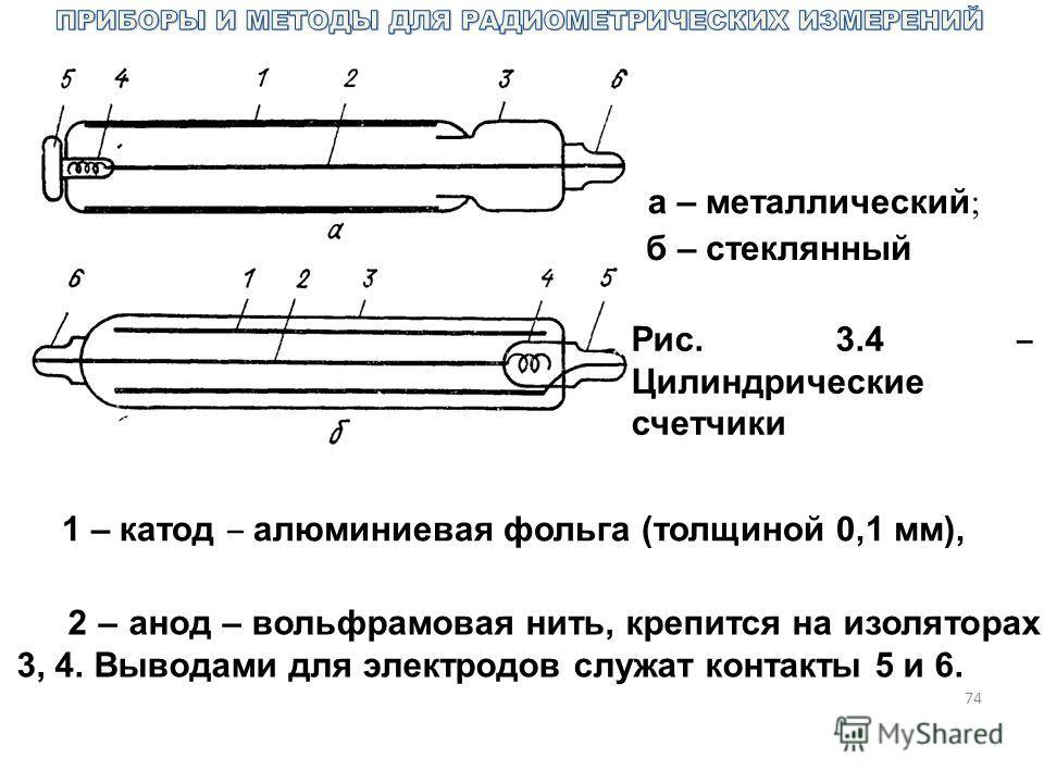 74 Рис. 3.4 Цилиндрические счетчики а – металлический ; б – стеклянный 1 – катод алюминиевая фольга (толщиной 0,1 мм), 2 – анод – вольфрамовая нить, крепится на изоляторах 3, 4. Выводами для электродов служат контакты 5 и 6.