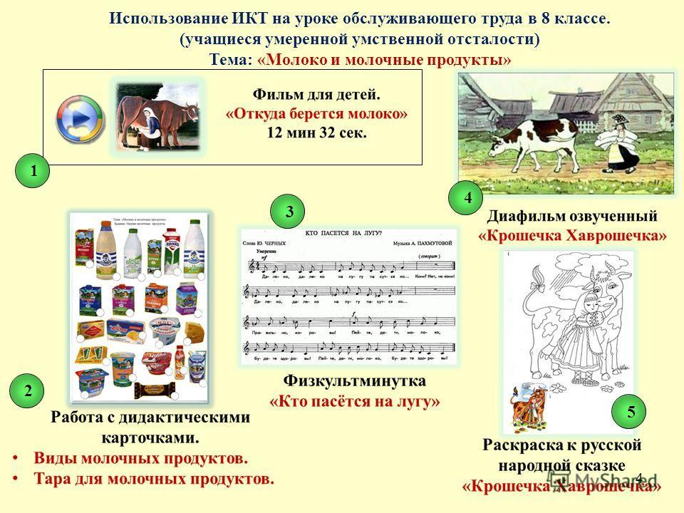 4 Использование ИКТ на уроке обслуживающего труда в 8 классе. (учащиеся умеренной умственной отсталости) Тема: «Молоко и молочные продукты» 12345