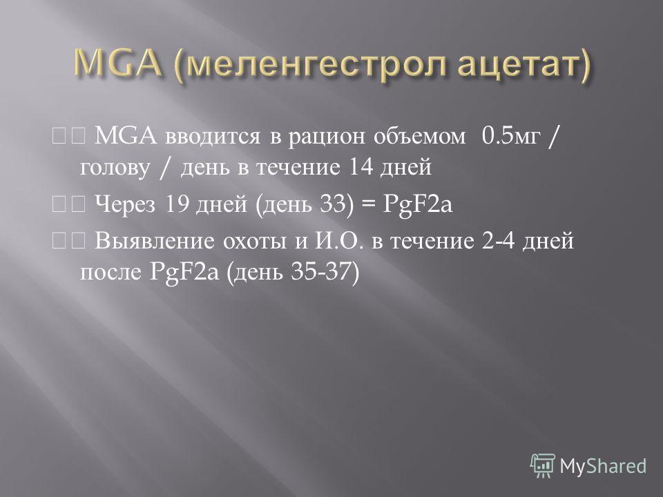 MGA вводится в рацион объемом 0.5 мг / голову / день в течение 14 дней Через 19 дней ( день 33) = PgF2a Выявление охоты и И. О. в течение 2-4 дней после PgF2a ( день 35-37)