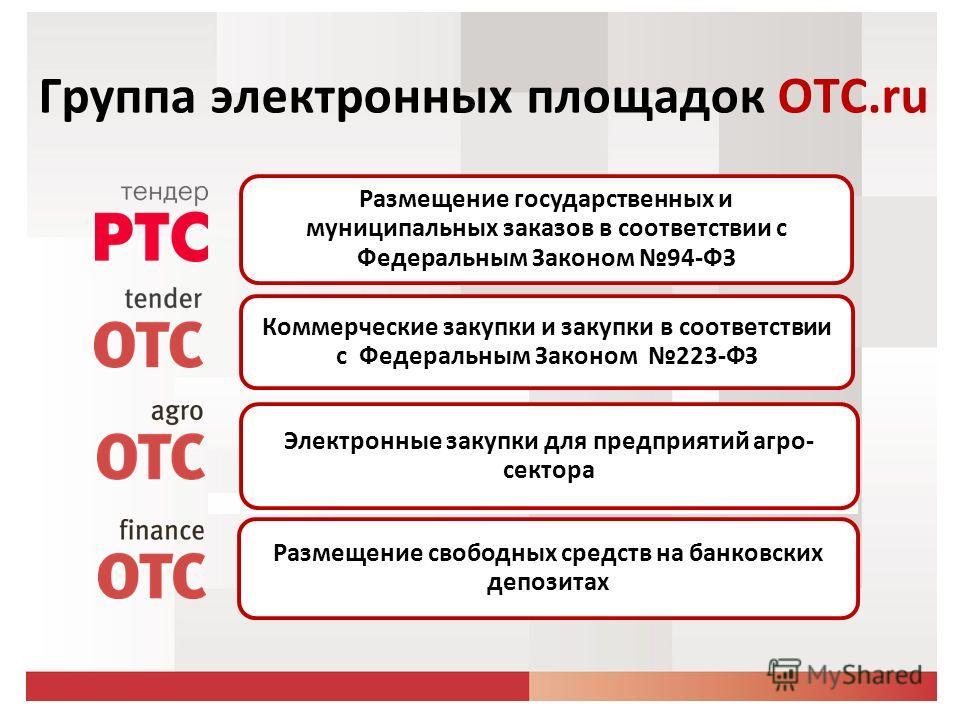 Группа электронных площадок ОТС.ru Размещение государственных и муниципальных заказов в соответствии с Федеральным Законом 94-ФЗ Коммерческие закупки и закупки в соответствии с Федеральным Законом 223-ФЗ Электронные закупки для предприятий агро- сект