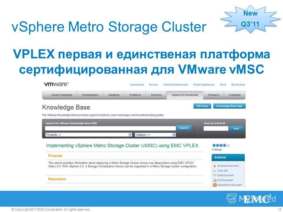13© Copyright 2011 EMC Corporation. All rights reserved. vSphere Metro Storage Cluster New Q311 New Q311 VPLEX первая и единственая платформа сертифицированная для VMware vMSC