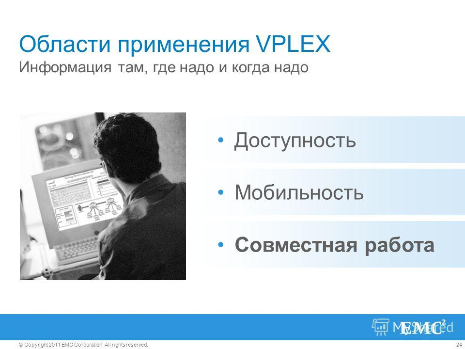 24© Copyright 2011 EMC Corporation. All rights reserved. Области применения VPLEX Информация там, где надо и когда надо Доступность Совместная работа Мобильность