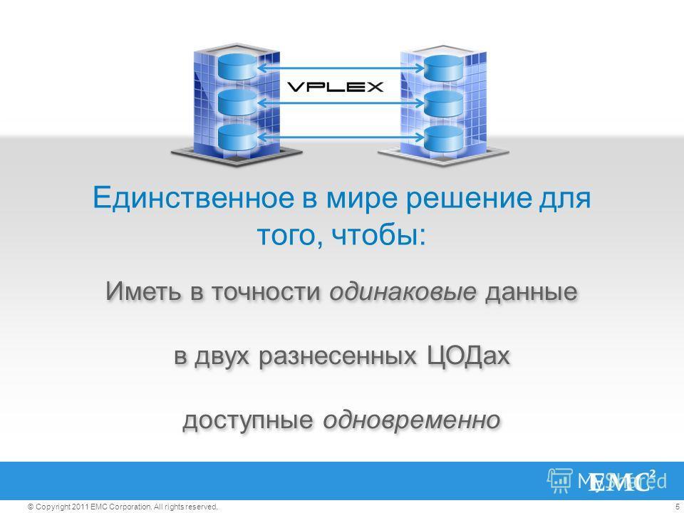 5© Copyright 2011 EMC Corporation. All rights reserved. Иметь в точности одинаковые данные в двух разнесенных ЦОДах доступные одновременно Иметь в точности одинаковые данные в двух разнесенных ЦОДах доступные одновременно Единственное в мире решение