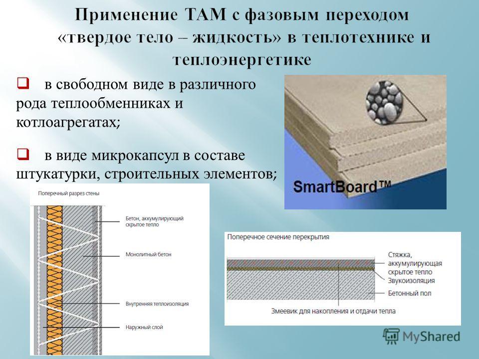 в виде микрокапсул в составе штукатурки, строительных элементов ; в свободном виде в различного рода теплообменниках и котлоагрегатах ;