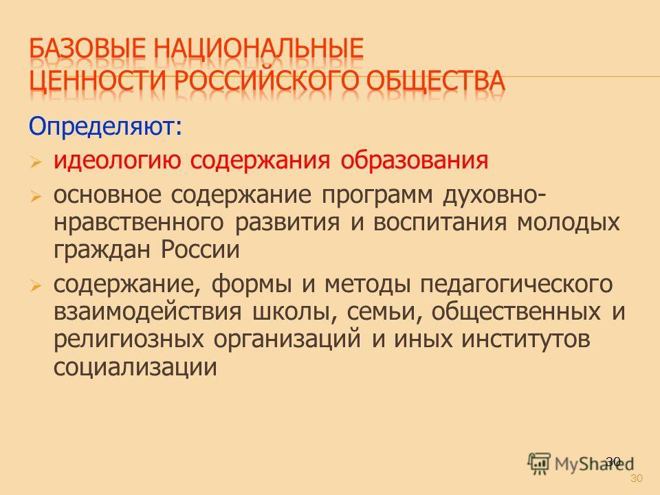 30 Определяют: идеологию содержания образования основное содержание программ духовно- нравственного развития и воспитания молодых граждан России содержание, формы и методы педагогического взаимодействия школы, семьи, общественных и религиозных органи