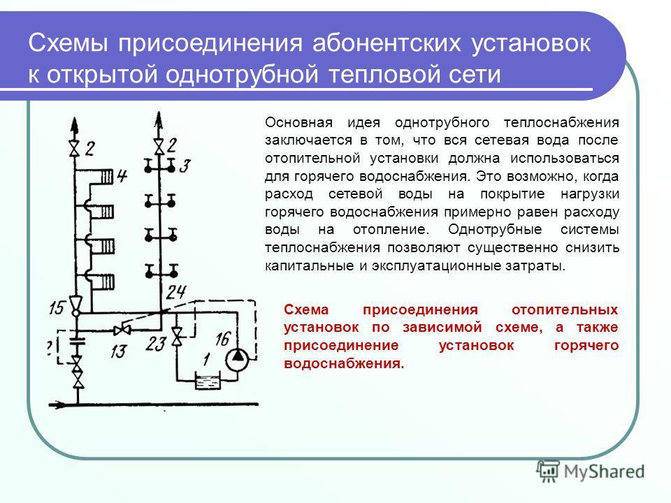 Схемы присоединения абонентских установок к открытой однотрубной тепловой сети Основная идея однотрубного теплоснабжения заключается в том, что вся сетевая вода после отопительной установки должна использоваться для горячего водоснабжения. Это возмож