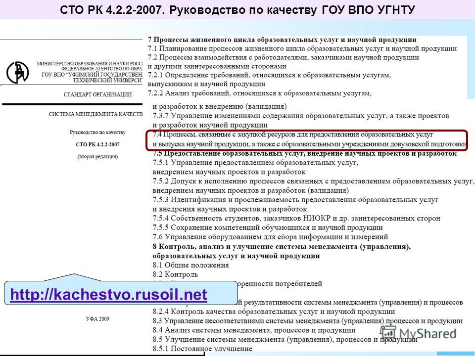 СТО РК 4.2.2-2007. Руководство по качеству ГОУ ВПО УГНТУ http://kachestvo.rusoil.net