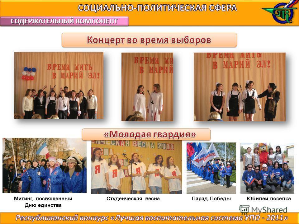 СОДЕРЖАТЕЛЬНЫЙ КОМПОНЕНТ Митинг, посвященный Дню единства Парад Победы Юбилей поселкаСтуденческая весна