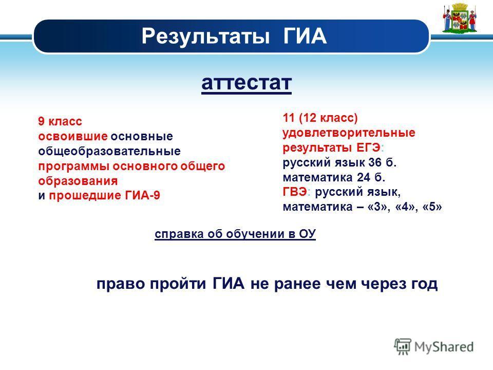 Результаты ГИА аттестат 9 класс освоившие основные общеобразовательные программы основного общего образования и прошедшие ГИА-9 11 (12 класс) удовлетворительные результаты ЕГЭ: русский язык 36 б. математика 24 б. ГВЭ: русский язык, математика – «3»,