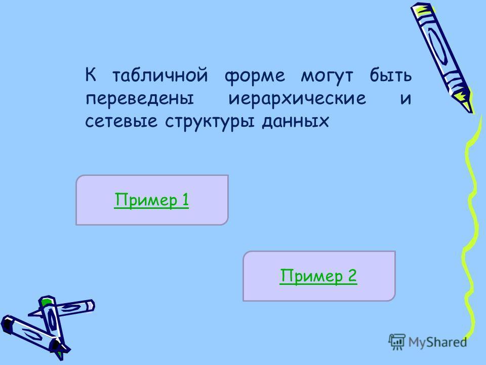 К табличной форме могут быть переведены иерархические и сетевые структуры данных Пример 1 Пример 2