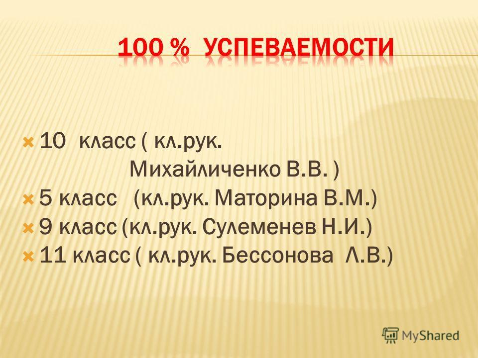 10 класс ( кл.рук. Михайличенко В.В. ) 5 класс (кл.рук. Маторина В.М.) 9 класс (кл.рук. Cулеменев Н.И.) 11 класс ( кл.рук. Бессонова Л.В.)