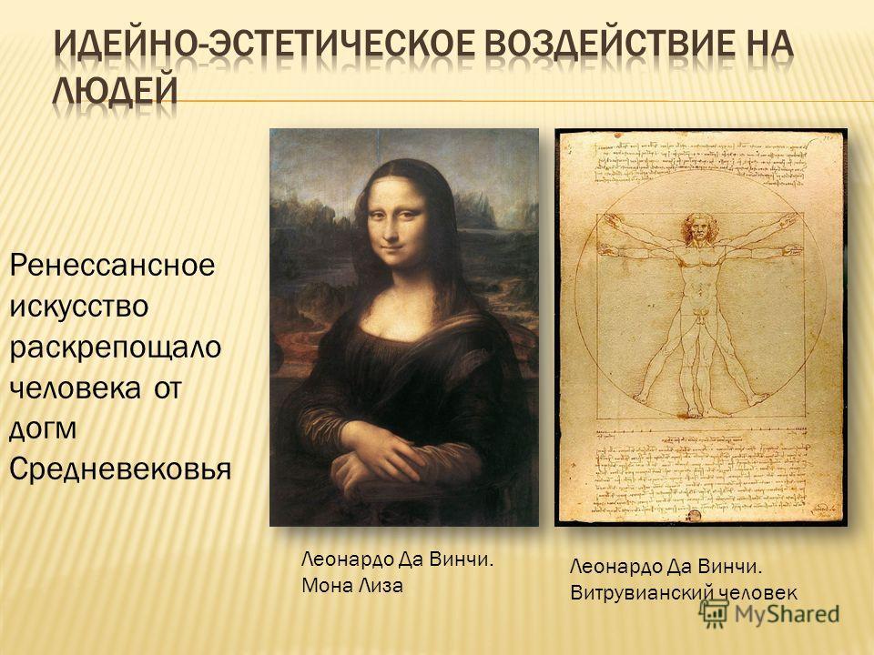 Ренессансное искусство раскрепощало человека от догм Средневековья Леонардо Да Винчи. Мона Лиза Леонардо Да Винчи. Витрувианский человек