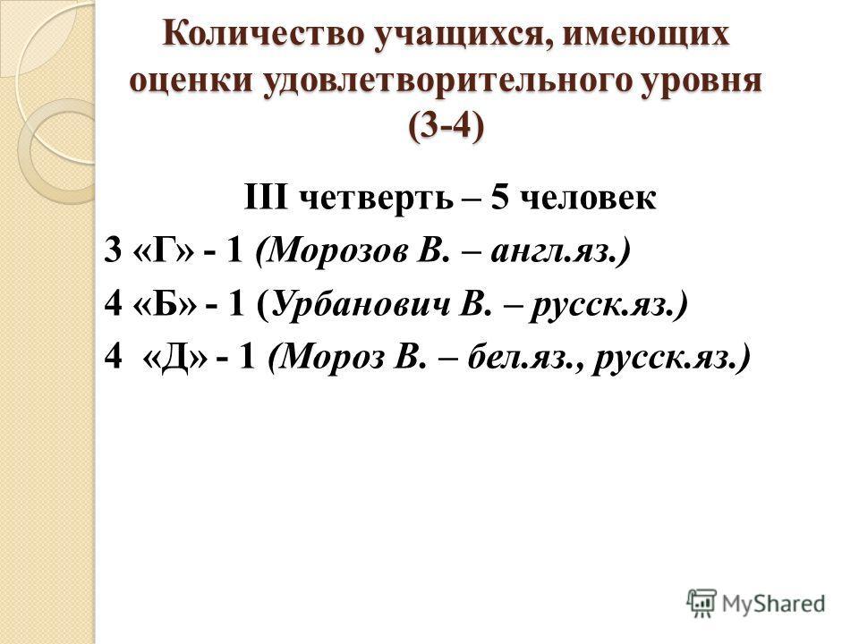 Количество учащихся, имеющих оценки удовлетворительного уровня (3-4) III четверть – 5 человек 3 «Г» - 1 (Морозов В. – англ.яз.) 4 «Б» - 1 (Урбанович В. – русск.яз.) 4 «Д» - 1 (Мороз В. – бел.яз., русск.яз.)