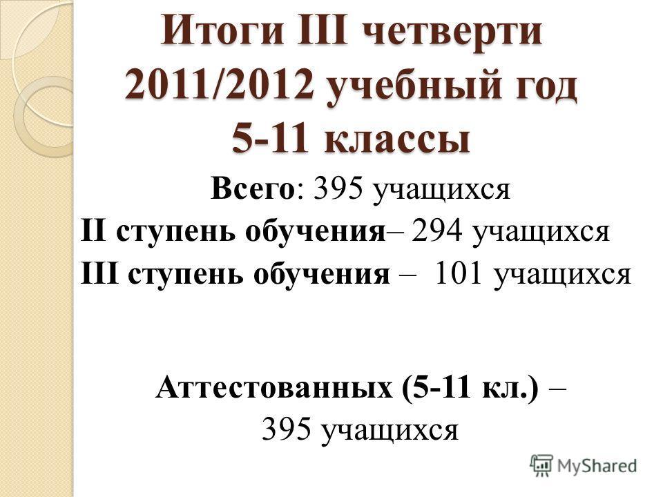 Итоги III четверти 2011/2012 учебный год 5-11 классы Всего: 395 учащихся II ступень обучения– 294 учащихся III ступень обучения – 101 учащихся Аттестованных (5-11 кл.) – 395 учащихся