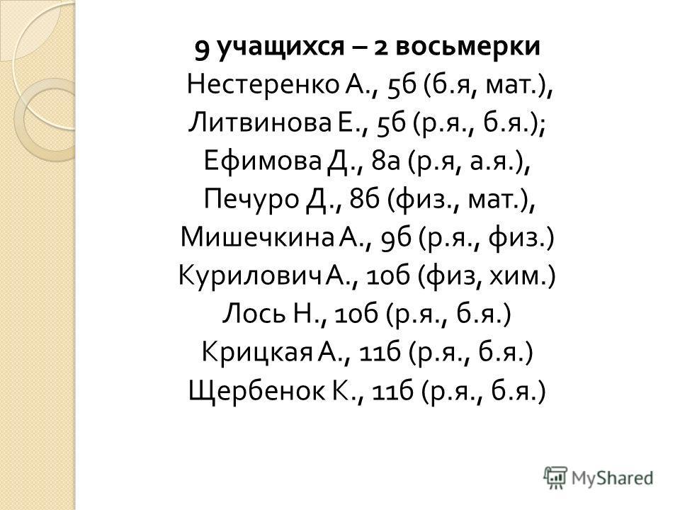 9 учащихся – 2 восьмерки Нестеренко А., 5 б ( б. я, мат.), Литвинова Е., 5 б ( р. я., б. я.); Ефимова Д., 8 а ( р. я, а. я.), Печуро Д., 8 б ( физ., мат.), Мишечкина А., 9 б ( р. я., физ.) Курилович А., 10 б ( физ, хим.) Лось Н., 10 б ( р. я., б. я.)