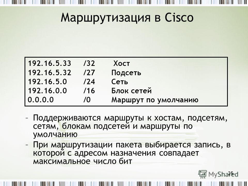 Маршрутизация в Cisco –Поддерживаются маршруты к хостам, подсетям, сетям, блокам подсетей и маршруты по умолчанию –При маршрутизации пакета выбирается запись, в которой с адресом назначения совпадает максимальное число бит 192.16.5.33/32 Хост 192.16.