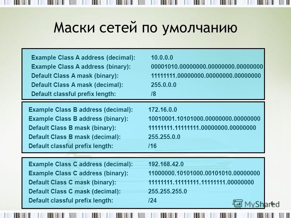 Маски сетей по умолчанию Example Class A address (decimal):10.0.0.0 Example Class A address (binary):00001010.00000000.00000000.00000000 Default Class A mask (binary):11111111.00000000.00000000.00000000 Default Class A mask (decimal):255.0.0.0 Defaul