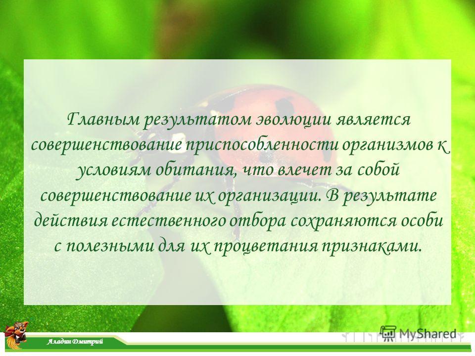 www.themegallery.com Главным результатом эволюции является совершенствование приспособленности организмов к условиям обитания, что влечет за собой совершенствование их организации. В результате действия естественного отбора сохраняются особи с полезн