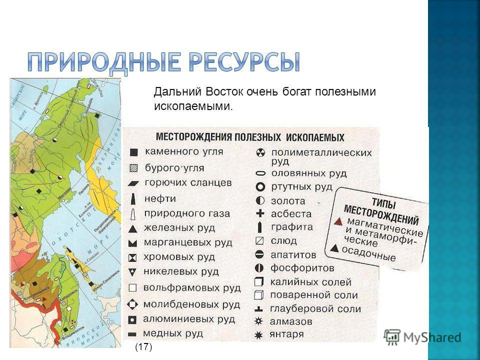 Дальний Восток очень богат полезными ископаемыми. (17)