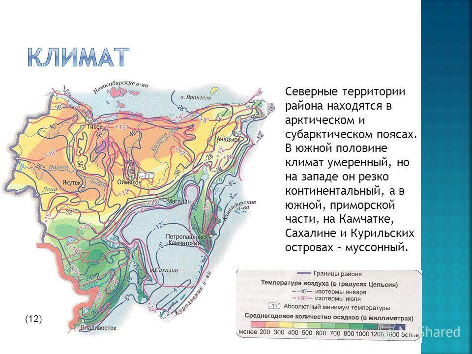 Северные территории района находятся в арктическом и субарктическом поясах. В южной половине климат умеренный, но на западе он резко континентальный, а в южной, приморской части, на Камчатке, Сахалине и Курильских островах – муссонный. (12)