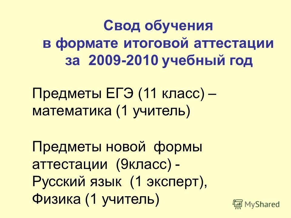 Свод обучения в формате итоговой аттестации за 2009-2010 учебный год Предметы ЕГЭ (11 класс) – математика (1 учитель) Предметы новой формы аттестации (9класс) - Русский язык (1 эксперт), Физика (1 учитель)
