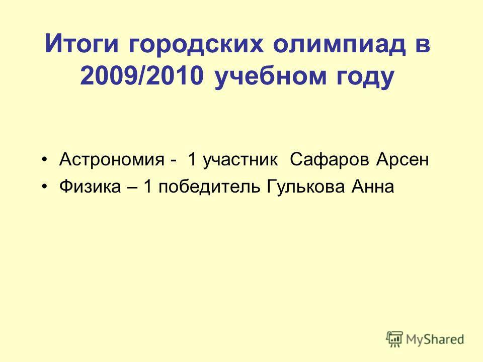 Итоги городских олимпиад в 2009/2010 учебном году Астрономия - 1 участник Сафаров Арсен Физика – 1 победитель Гулькова Анна