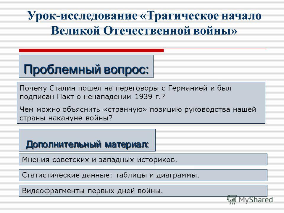 Урок-исследование «Трагическое начало Великой Отечественной войны» Проблемный вопрос: Почему Сталин пошел на переговоры с Германией и был подписан Пакт о ненападении 1939 г.? Чем можно объяснить «странную» позицию руководства нашей страны накануне во