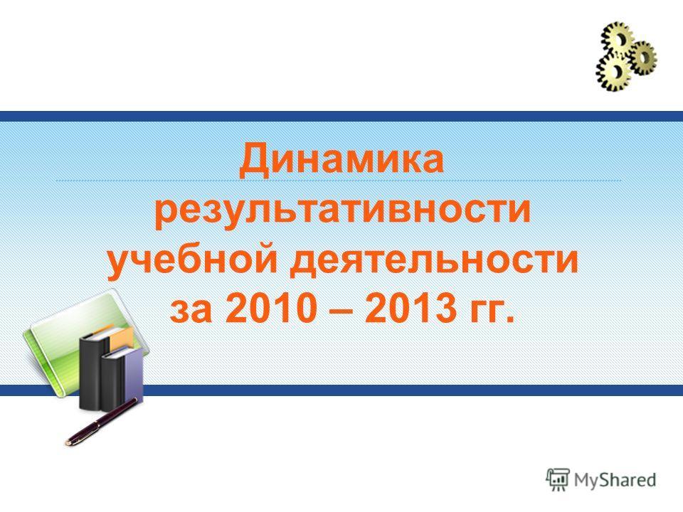 Динамика результативности учебной деятельности за 2010 – 2013 гг.