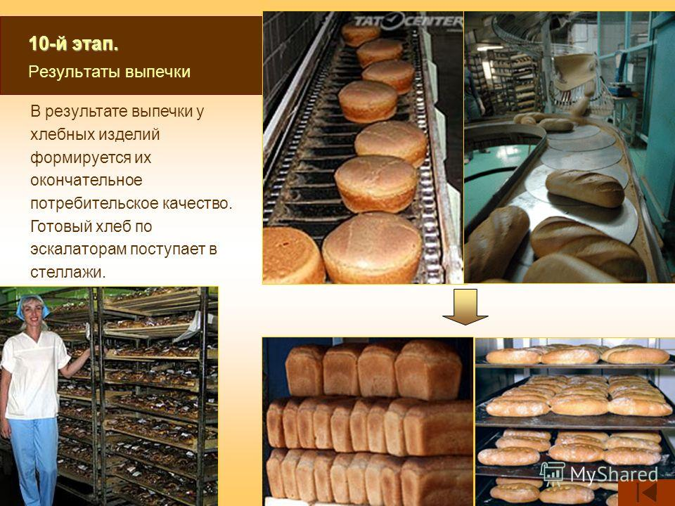 10-й этап. 10-й этап. Результаты выпечки В результате выпечки у хлебных изделий формируется их окончательное потребительское качество. Готовый хлеб по эскалаторам поступает в стеллажи.