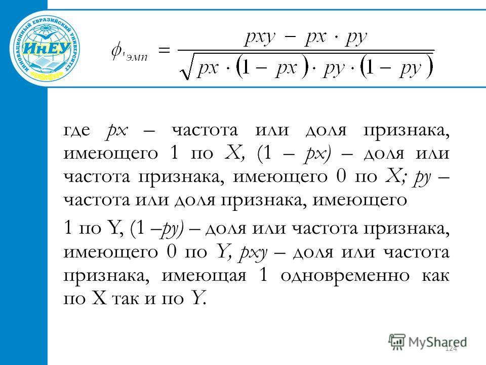 124 где рх – частота или доля признака, имеющего 1 по X, (1 – рх) – доля или частота признака, имеющего 0 по X; ру – частота или доля признака, имеющего 1 по Y, (1 –ру) – доля или частота признака, имеющего 0 по Y, рху – доля или частота признака, им
